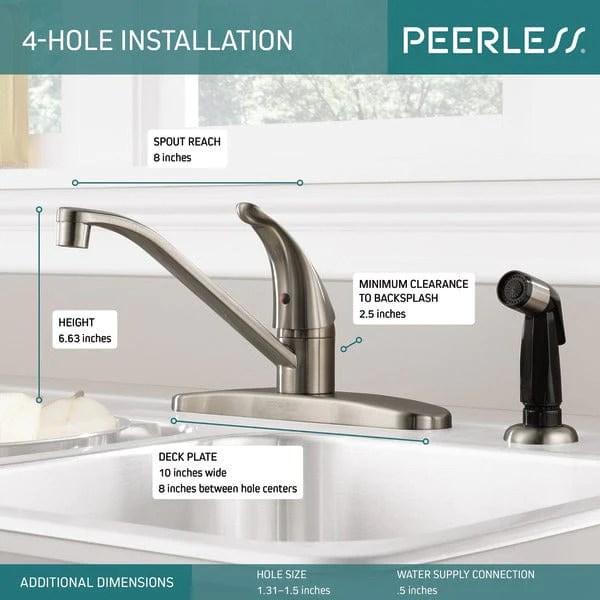 peerless single handle kitchen faucet p115lf ss