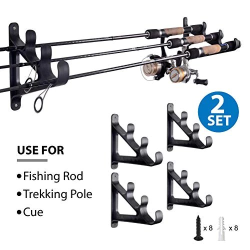 horizontal rod rack for fishing rod wall rack storage ultra sturdy strong weatherproof holds 3 rods space saving for fishing rods hiking poles ski