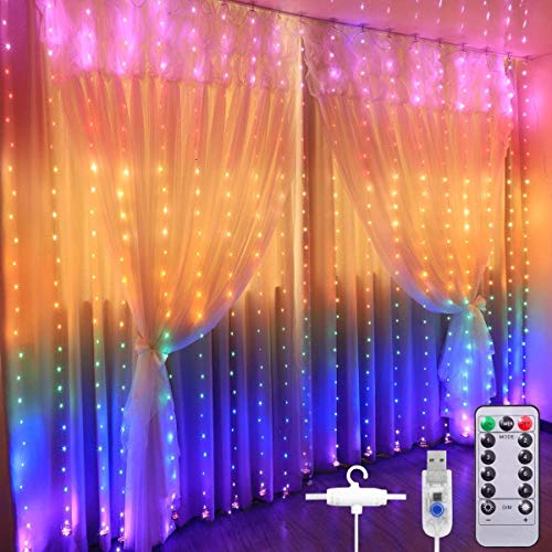 christmas curtain lights star string twinkle fairy wall lights for bedroom 8 modes waterproof 9 8 x 9 2ft 280 led wall decor hanging lights with