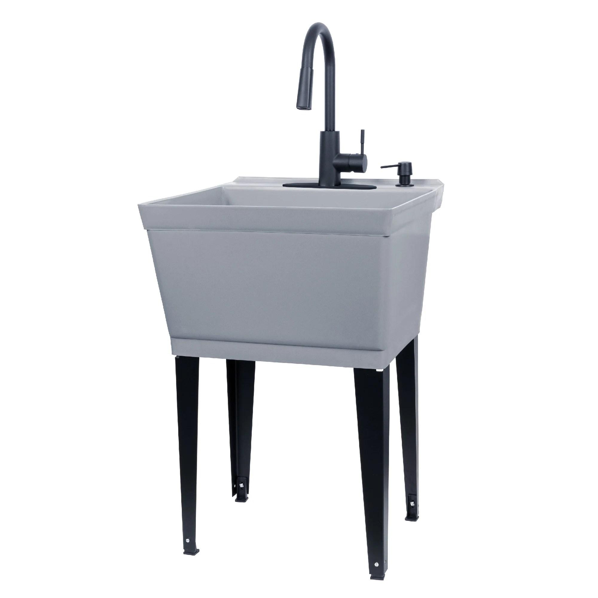 tehila utility sink with black high arc faucet 19 gallon grey