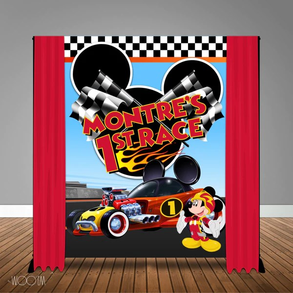 Mickey Mouse Roadster Racers Birthday 6x8 Backdrop Step Repeat Desi Woo Em Design