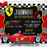 Ferrari Birthday Invitation Ferrari Invitation Ferrari Birthday Fer Oh My Party Studio