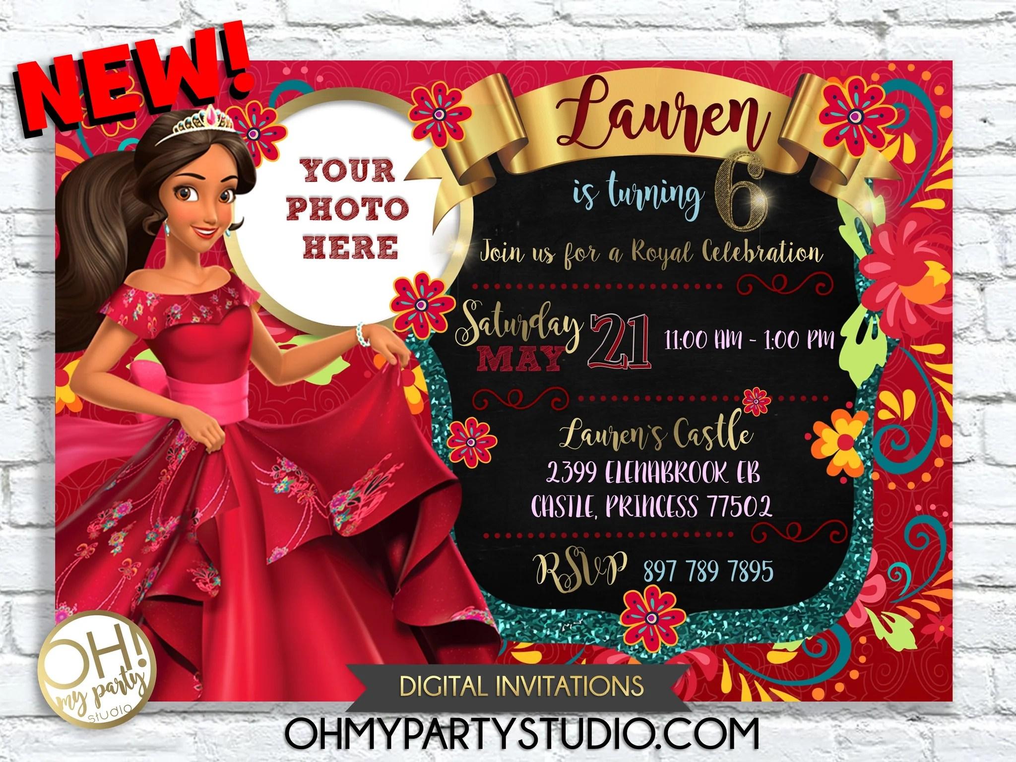 Elena Of Avalor Birthday Party Invitation Oh My Party Studio