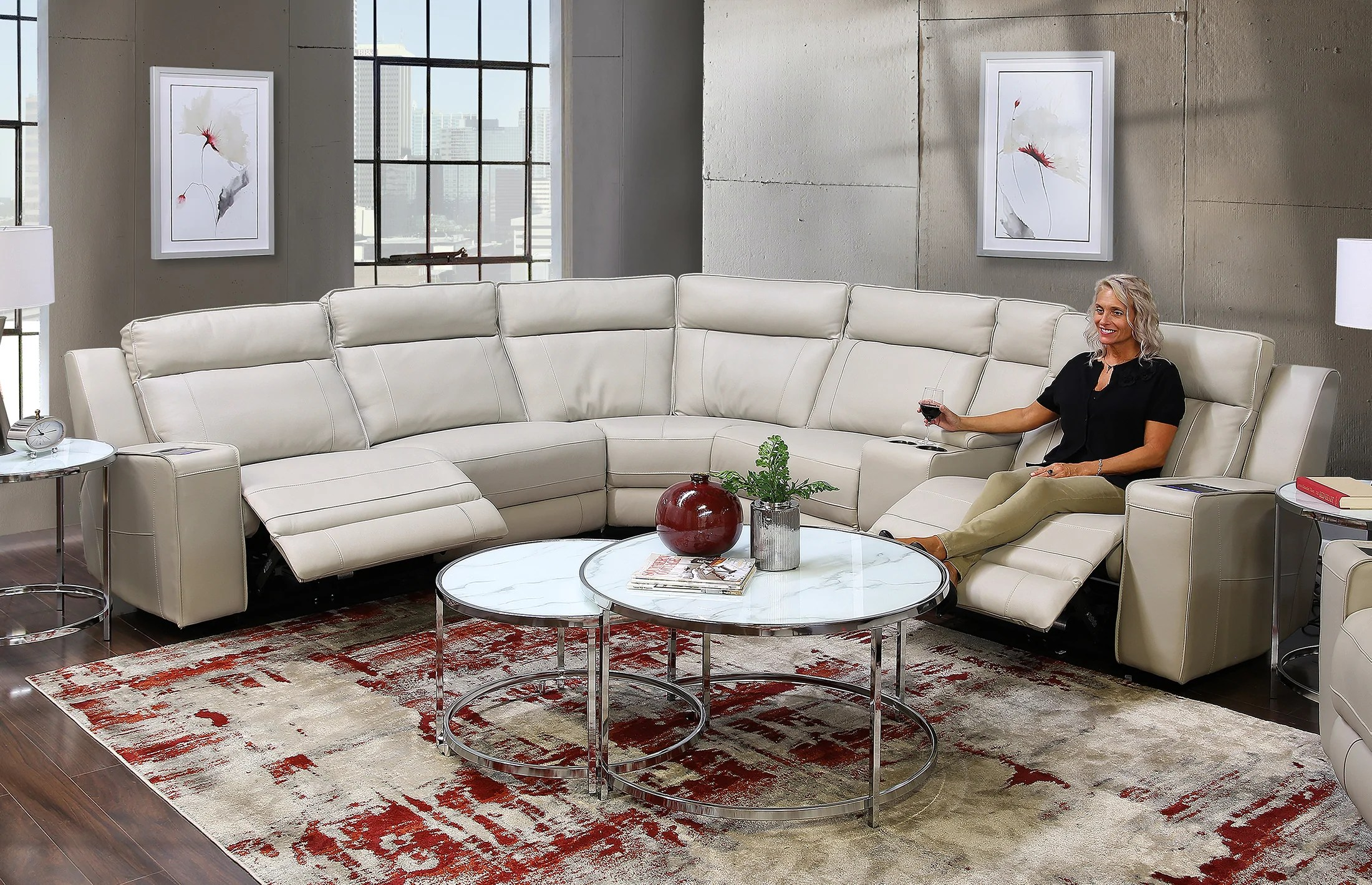 avenger grey 6 piece leather triple power sectional sofa with itable mini