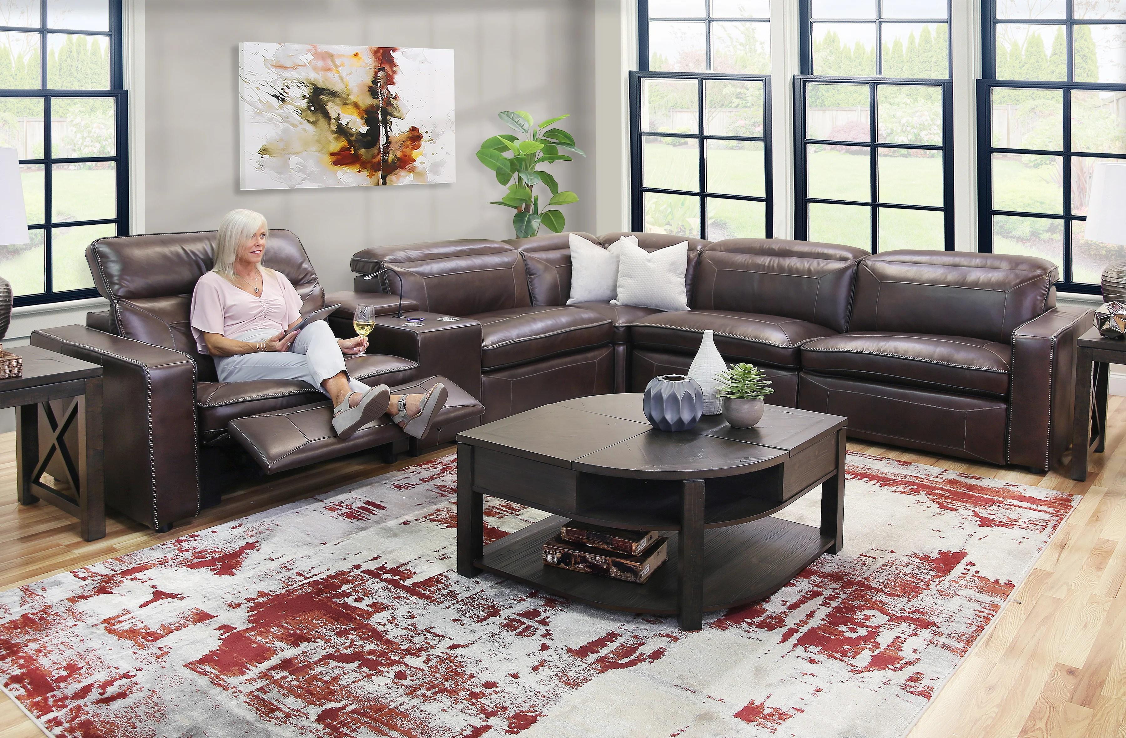 dorado 6 piece leather power reclining sectional sofa