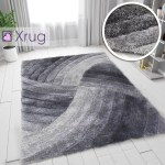 Grey Shaggy Rugs 3d Fluffy Rugs Hand Carved Lon Pile Patterned Bedroom Carpets Small Large
