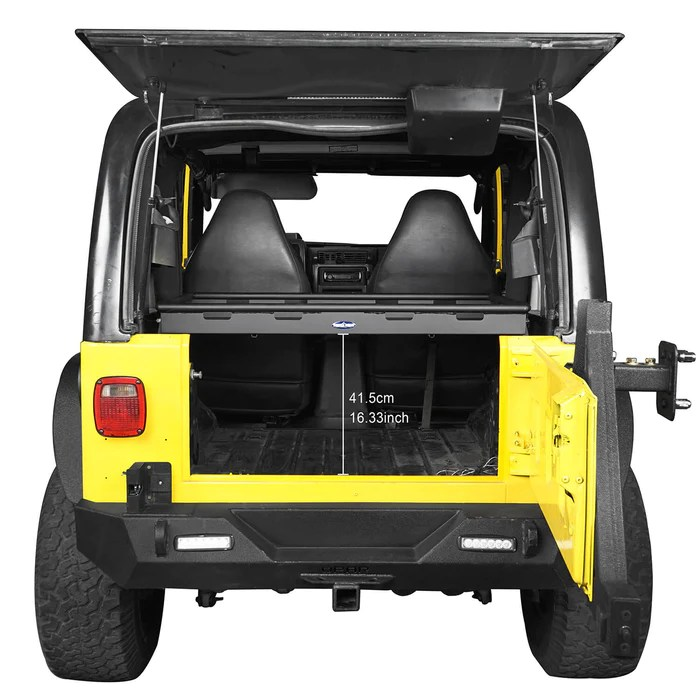 interior cargo rack w elastic rope net 97 06 jeep wrangler tj