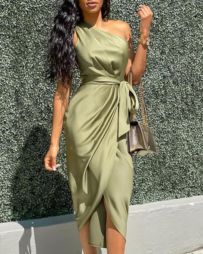 One Shoulder Ruched Design Party Dress 12