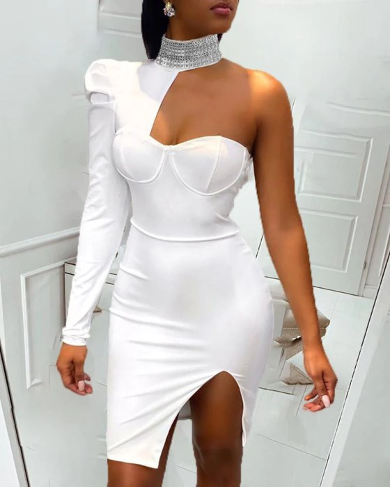 One Shoulder Slit Sequins Bodycon Dress 9
