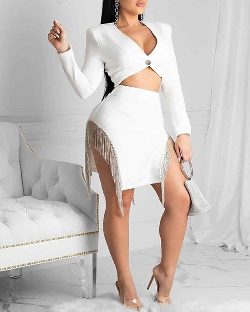 Plunge Neck Blazer With Side Tassel Sequins Skirt Set