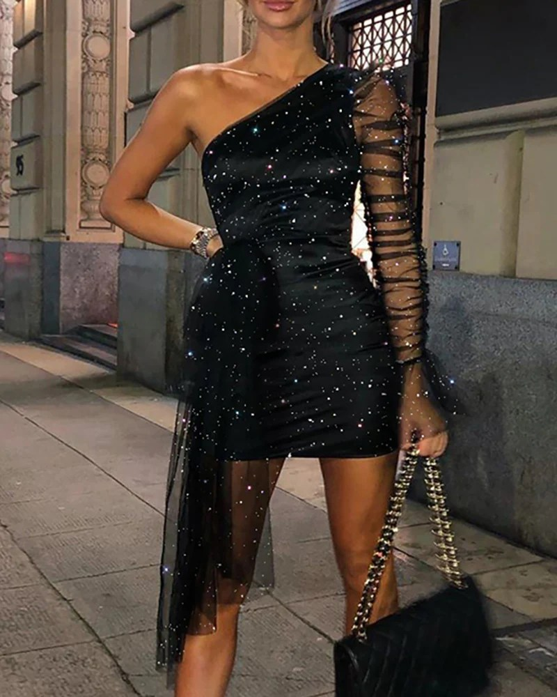 Glitter One Shoulder Sheer Mesh Ruched Party Dress 2