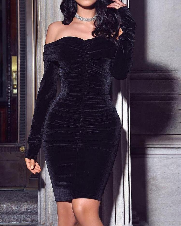 Velvet Off Shoulder Ruched Bodycon Dress 1