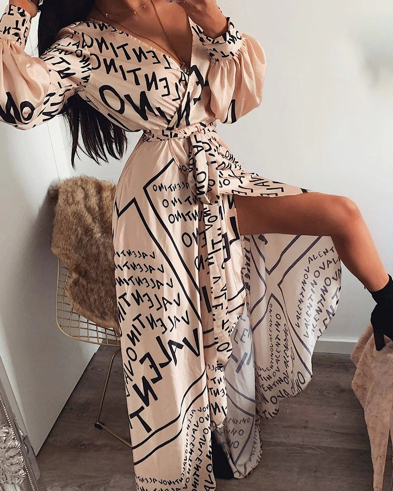 Letter Print V-Neck Thigh Slit Maxi Dress