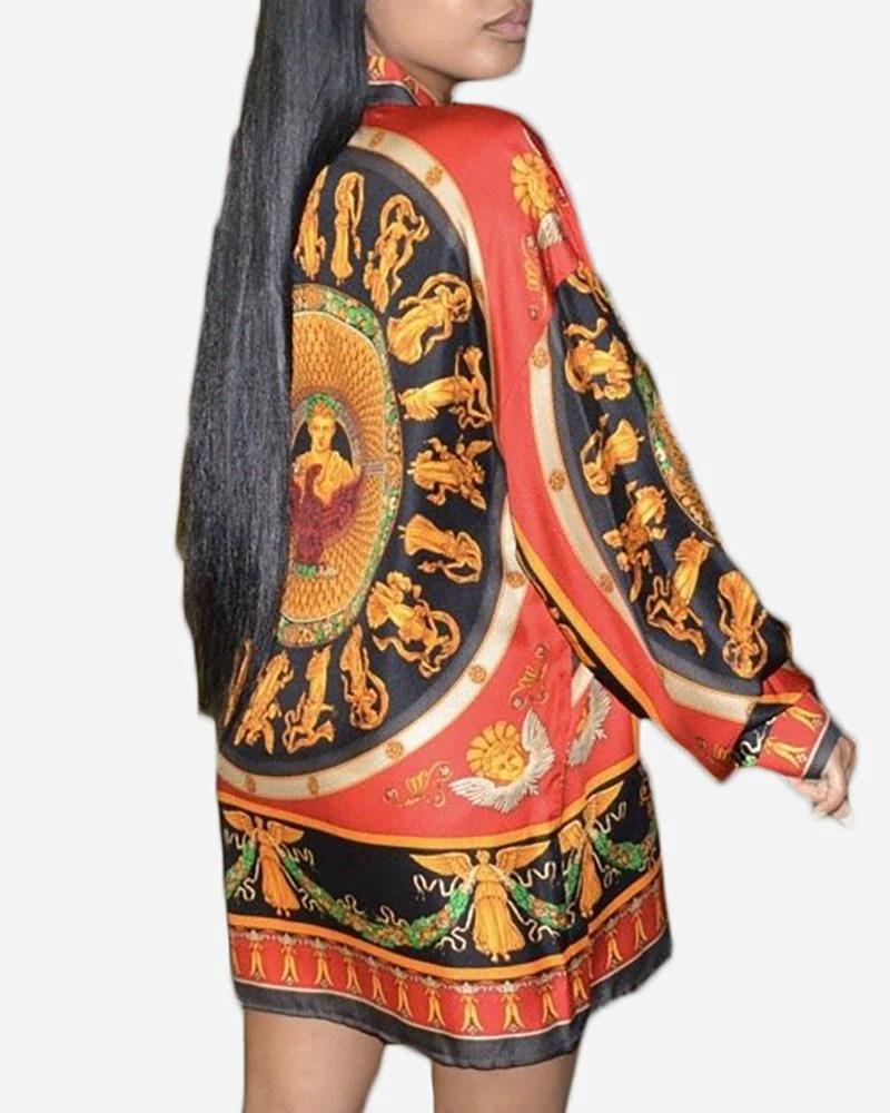 Totem Print Buttoned Shirt Dress