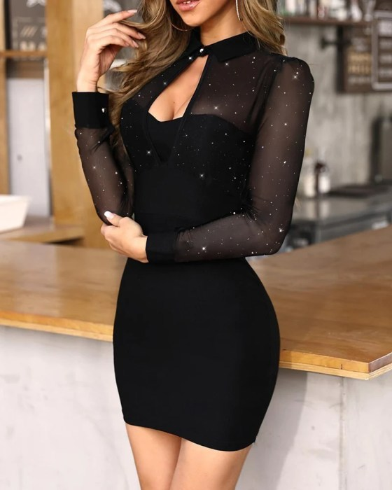 Glitter Semi Sheer Mesh Bodycon Dress 3