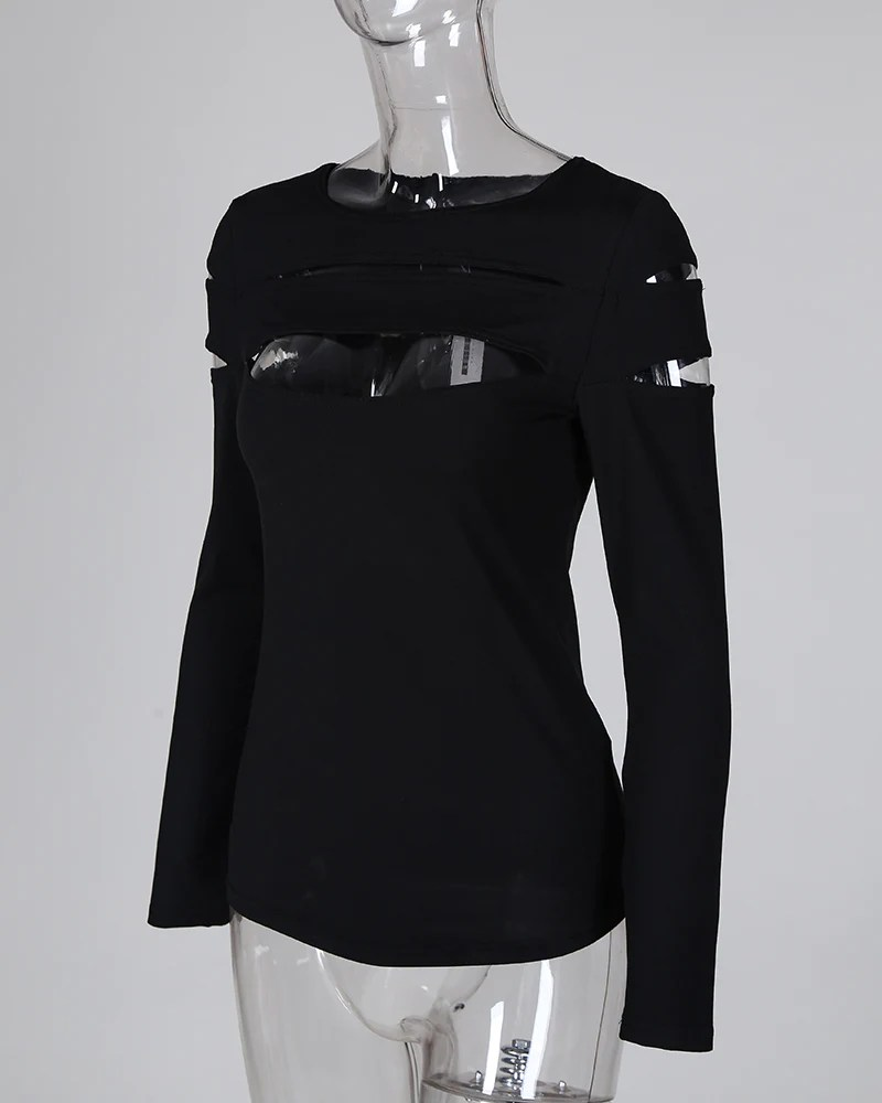 Fashion  Hollow Out Long Sleeve T-shirt Top