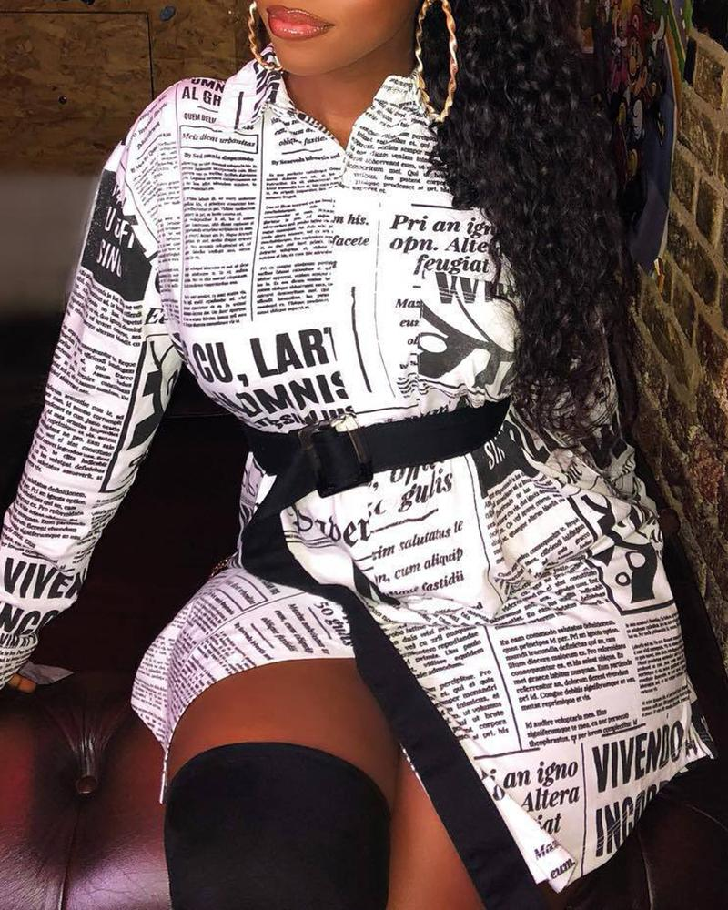 Newspaper Print Long Sleeve Casual Shirt 8