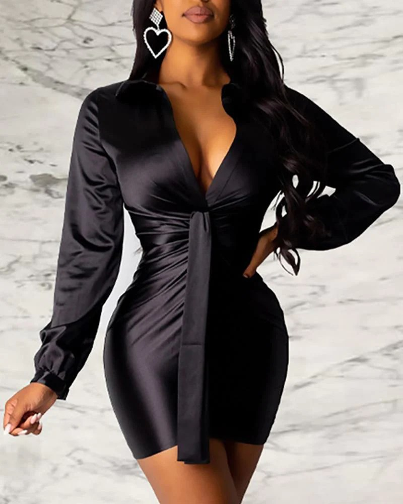 Solid Turn-down Collar Long Sleeve Ruched Shirt Bodycon Dress 9