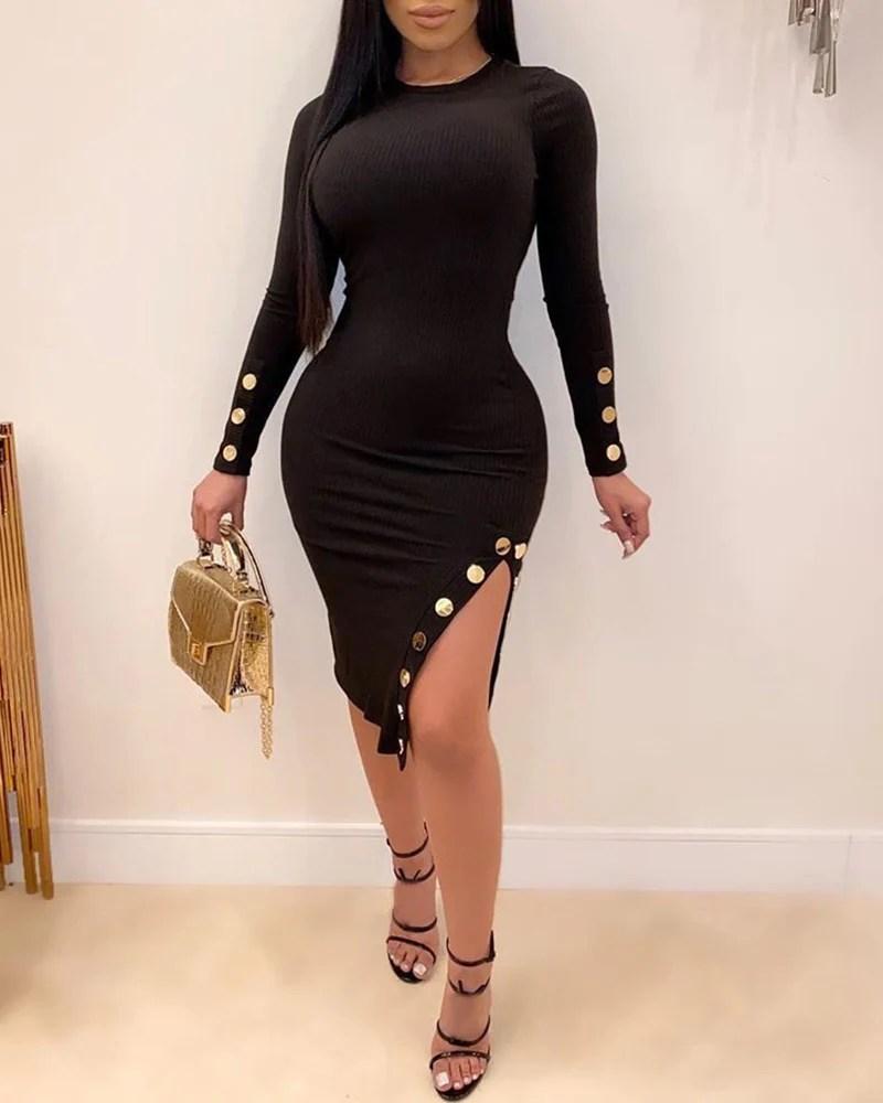 Round Neck Long Sleeve Popper Cuff Slit Bodycon Dress