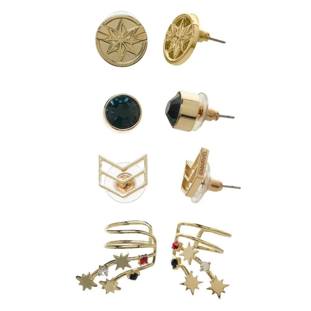 captain marvel earrings - 4-pack