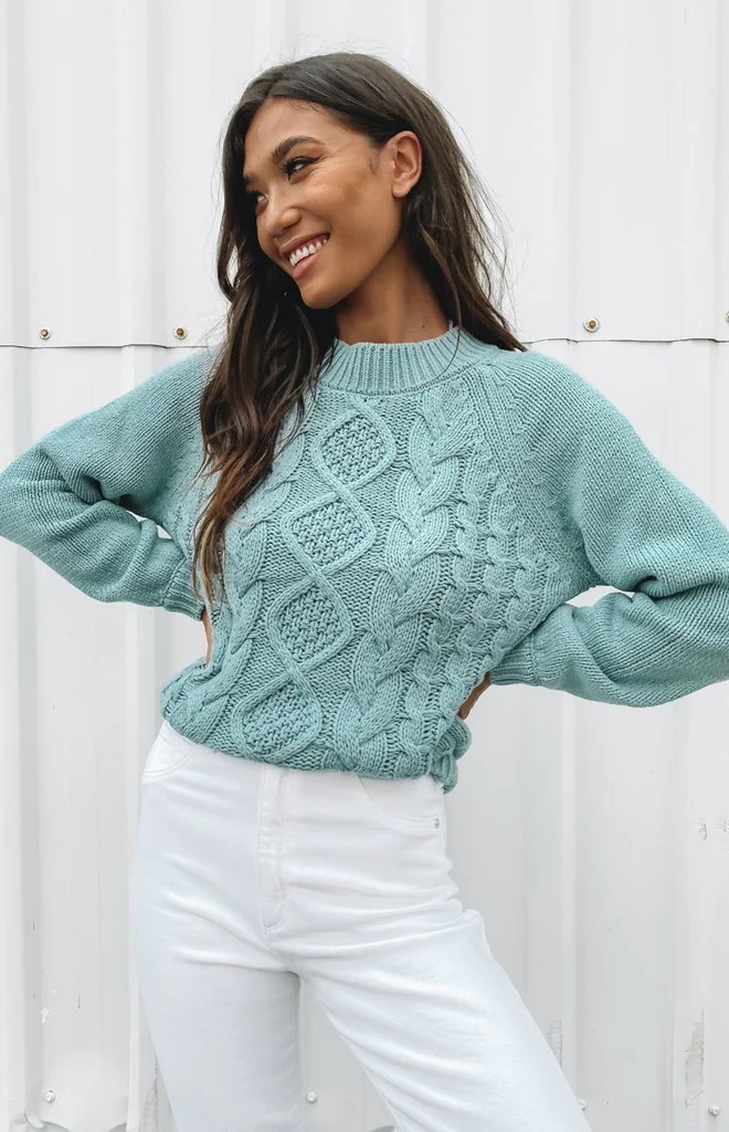 Breaker Knitted Winter Sweater Mint 5