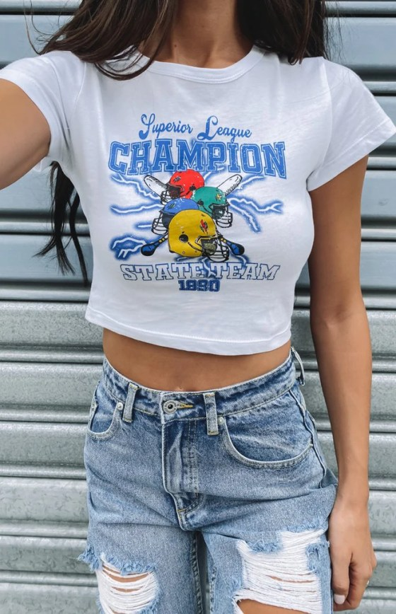 Champions Cropped Printed Tee White 3