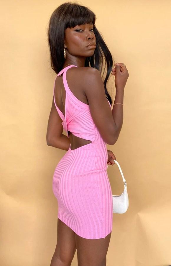 Dobin Twist Back Mini Dress Pink