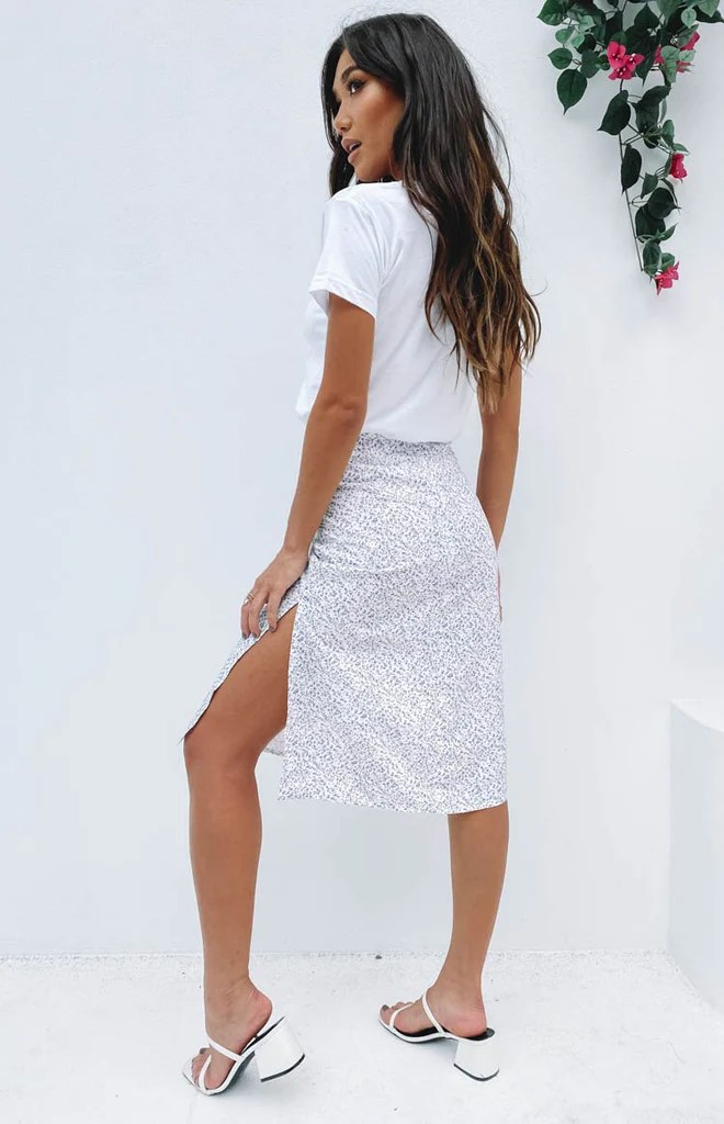 Hot chick Midi Skirt Lilac Floral 10