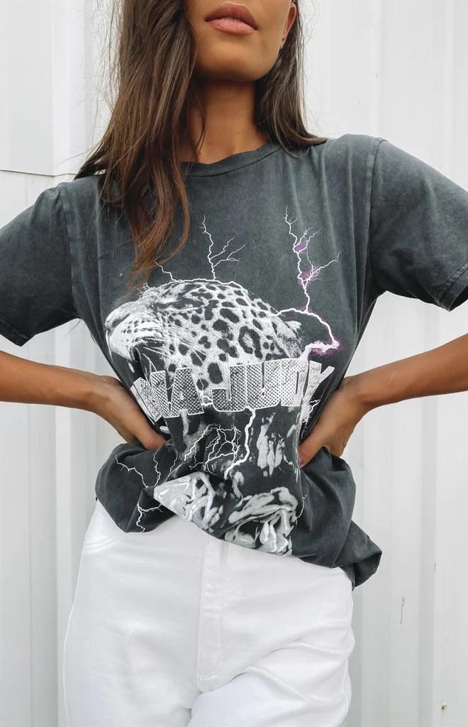 Nana Judy Lou Crop Boyfriend T-Shirt Vintage Black 10