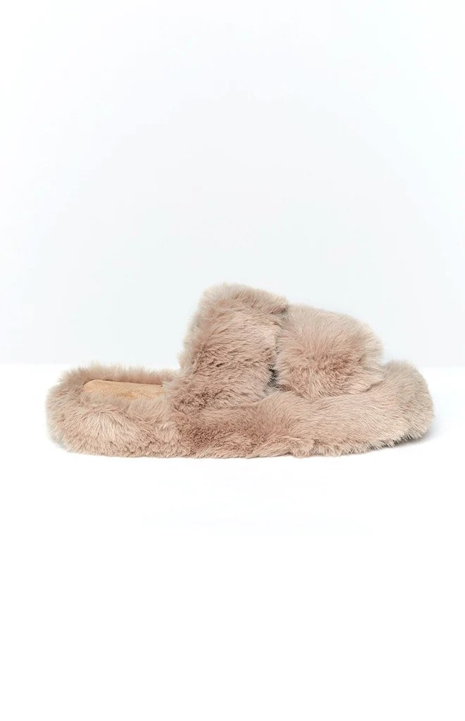 Lila Faux Fur Slippers Brown 2