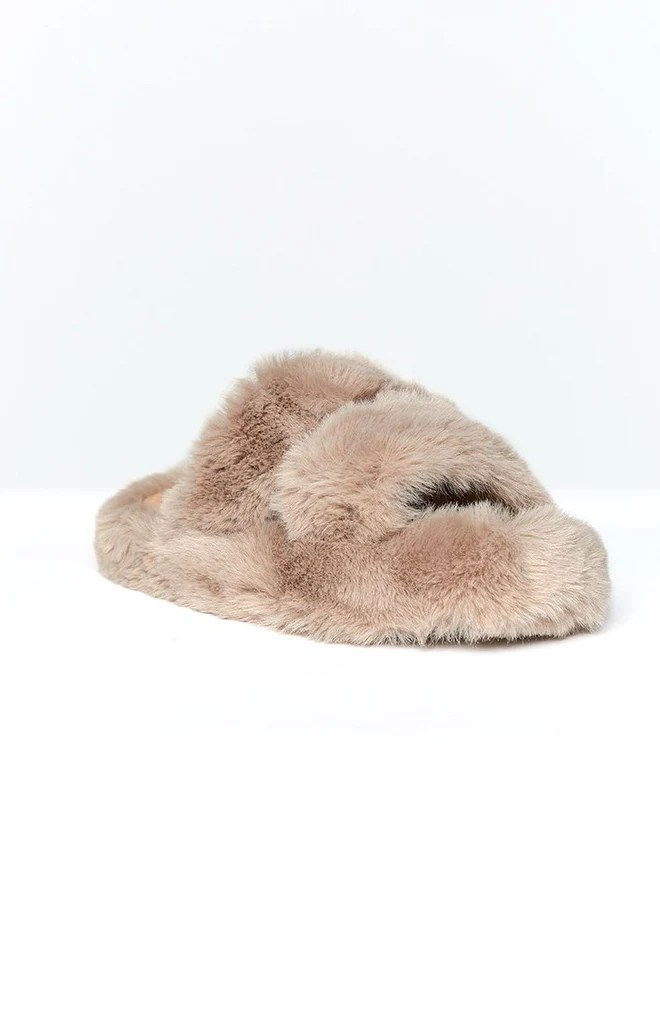 Lila Faux Fur Slippers Brown 3