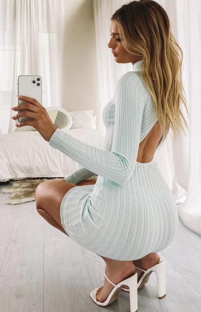 Mary Jean Long Sleeve Knit Dress Light Blue 3