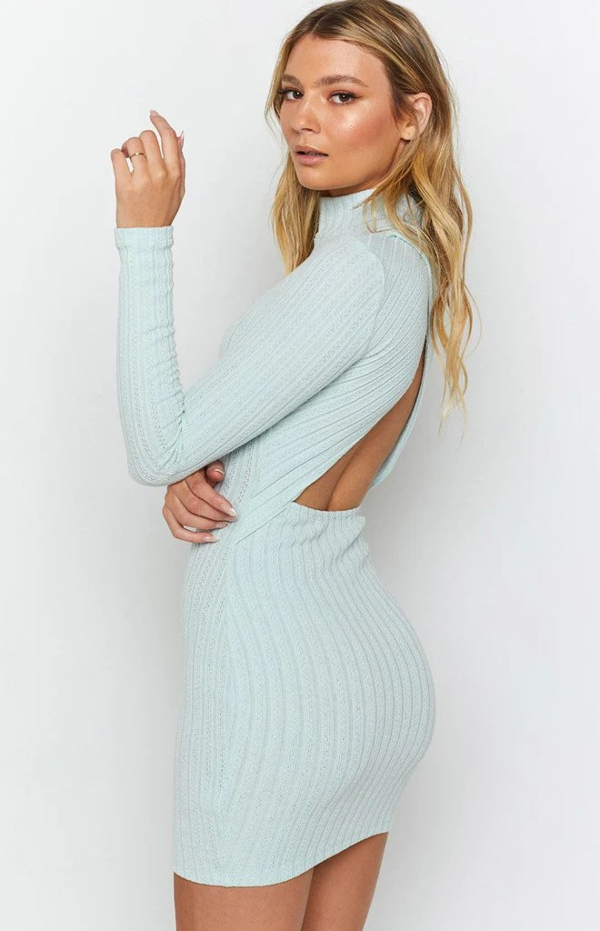 Mary Jean Long Sleeve Knit Dress Light Blue 7
