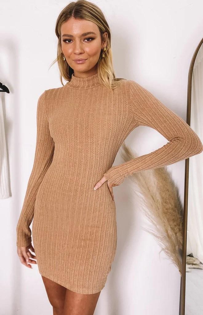 Mary Jean Long Sleeve Knit Dress Tan 10