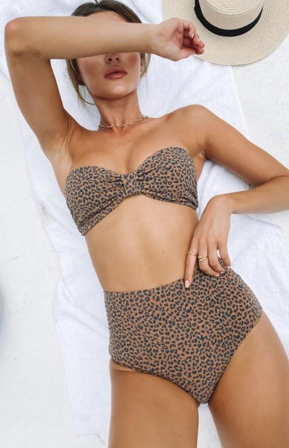 Thrills Panthera High Waist Bikini Bottom Mustang Brown