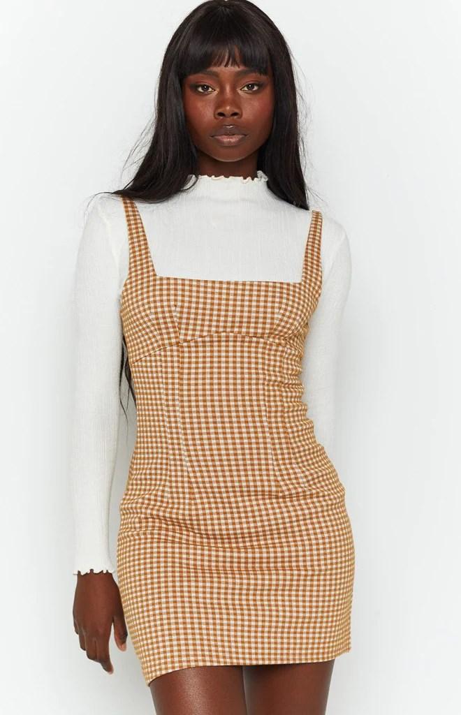 Pebbles Mini Dress Brown Check 7