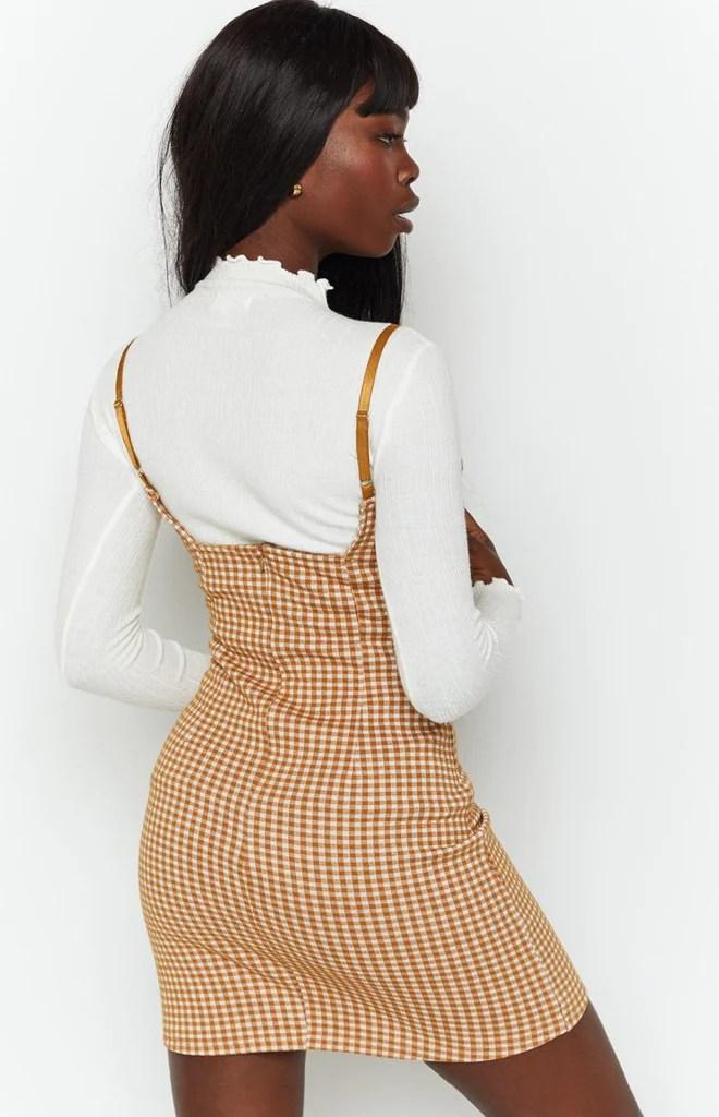 Pebbles Mini Dress Brown Check 9