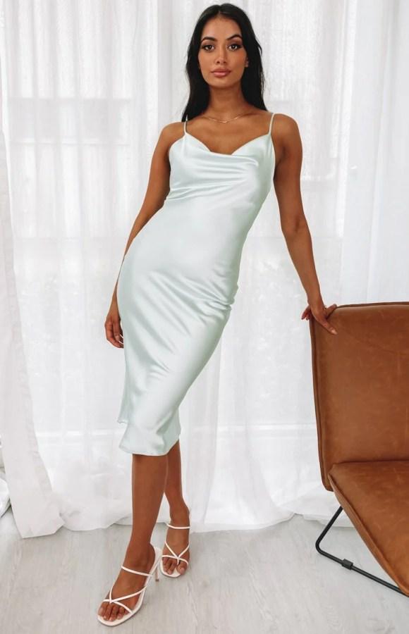 Schiffer Slip Midi Dress Mint