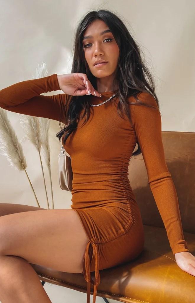 Shaunie Drawstring Dress Rust 3