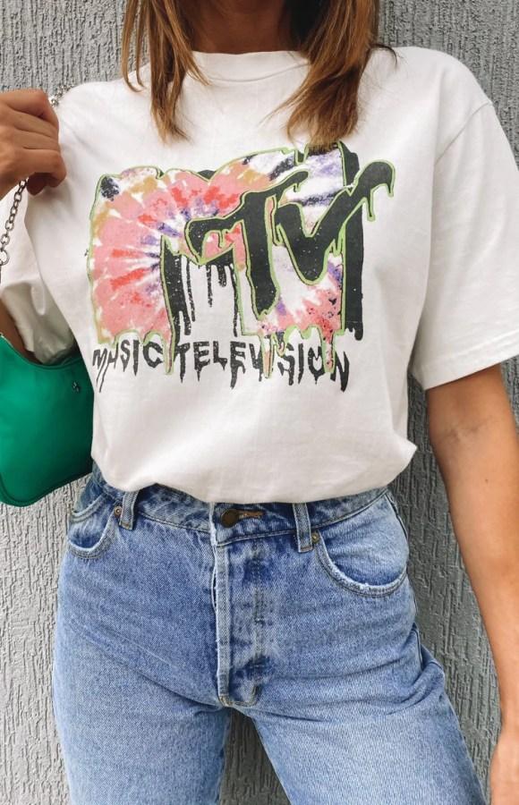 Rolla's Tomboy MTV Tie Dye Tee White