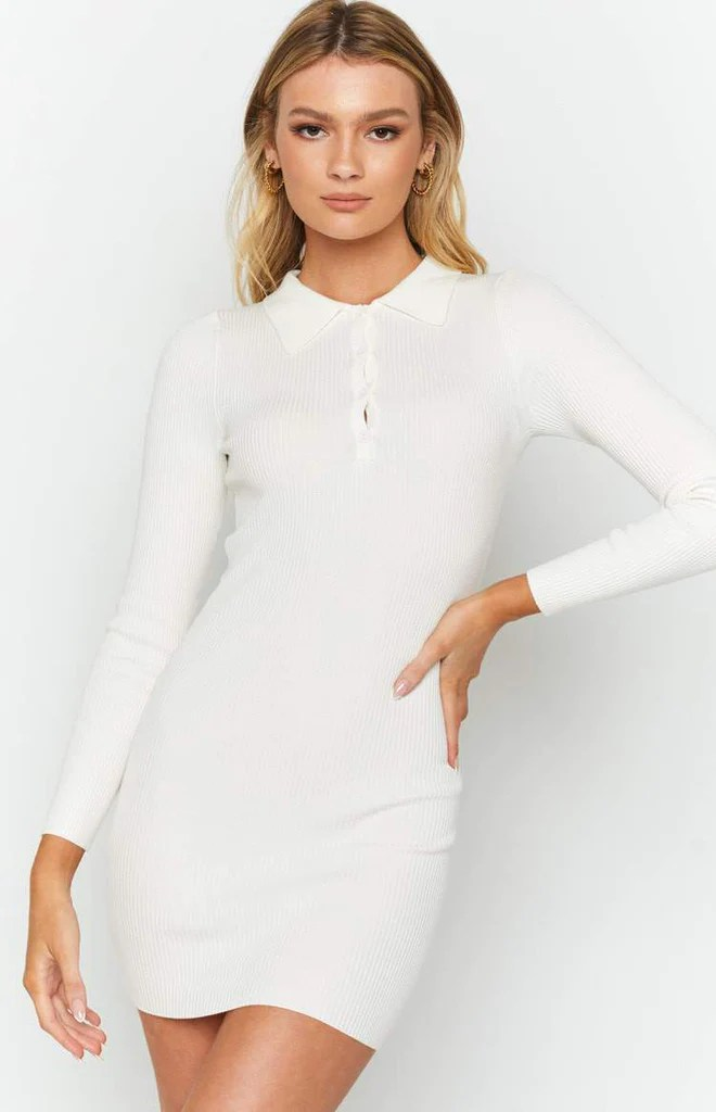 Underwood Collared Ribbed Dress White 9