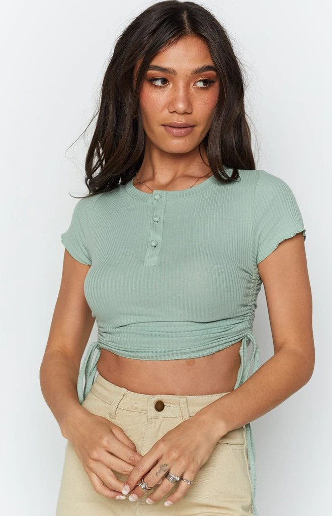 Vantage Button Down Ruched Side Top Sage 10