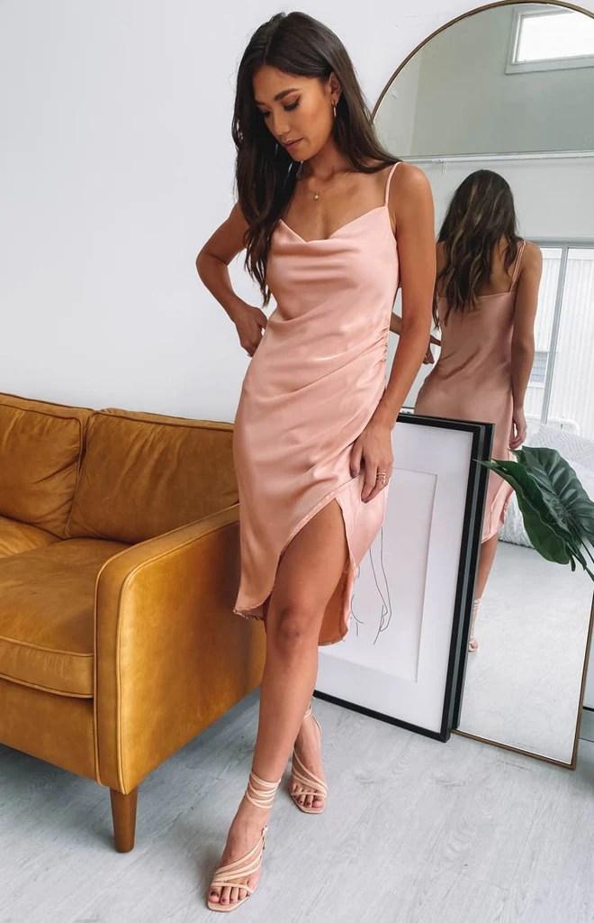 Zariah Slip Midi Dress Peach 2