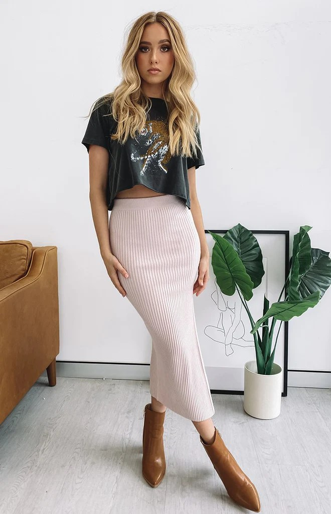 Laurena Knit Midi Skirt Pink 4