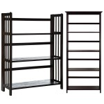 Casual Home Mission Style 5 Shelf Bookcase With 3 Shelf Folding Stackable Bookcase 27 5 Wide Espresso