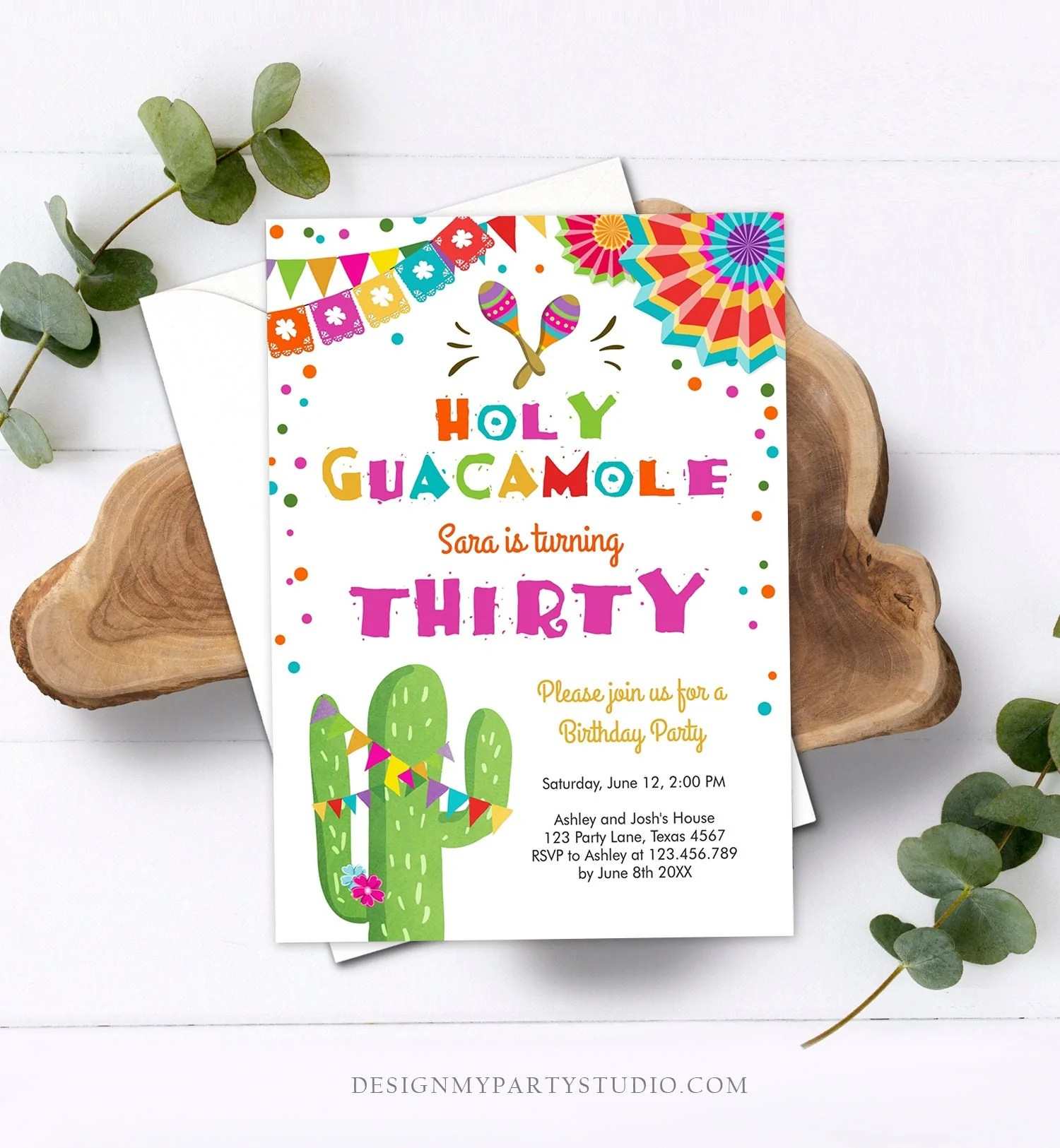 editable any age fiesta birthday invitation holy guacamole adult mexican thirty birthday party cactus 30th corjl template printable 0045