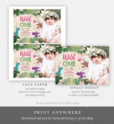 editable wild one birthday invitation