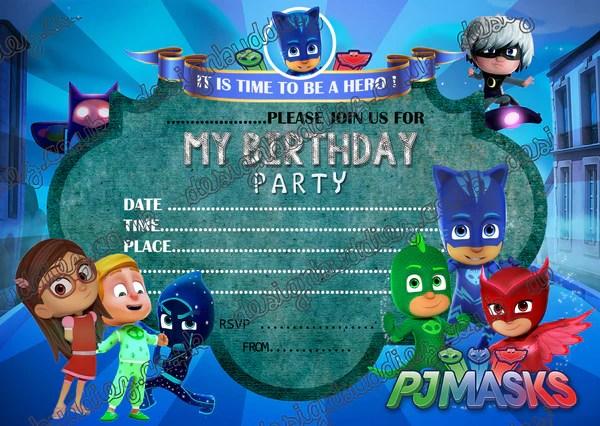 Pj Mask Kid S Birthday Party Invitations Party Invitations For Pj Mask Printbuddies Co Uk