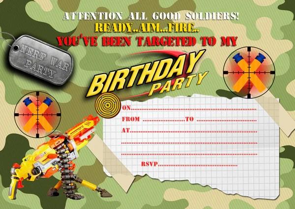 boys nerf battle birthday party invitations ds1 envelopes