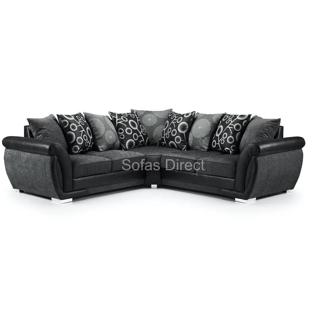 large grey black fabric corner sofa sd098